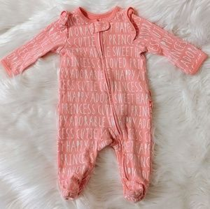 Zip up footie sleeper with ruffle bottom!